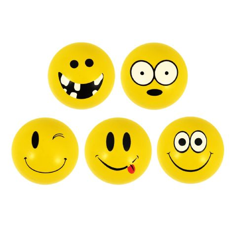 Yellow Emoji Balls - Assorted Designs Bouncy Jet Ball 35mm